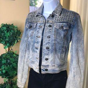 XHILARATION Women's Denim Studded Jacket  XS